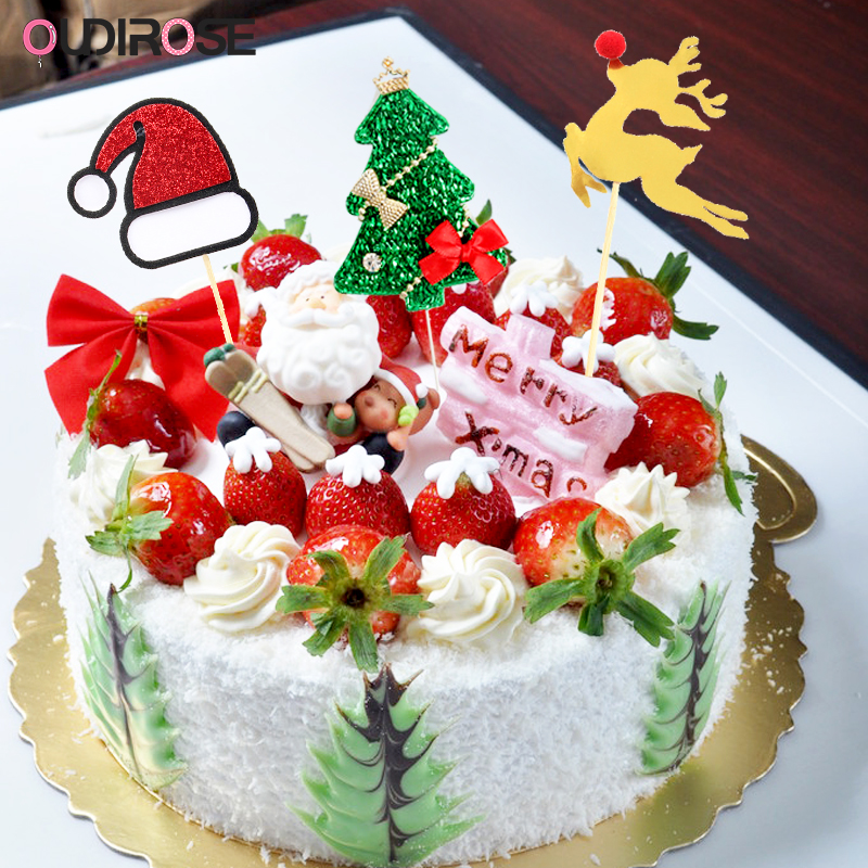 Christmas Paper Happy Birthday Cake Topper Happy New Year ...