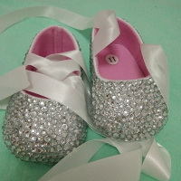 Free Shipping Ribbon Silver Rhinestone Crystal Baby Girl S Shoes Handmade Bling Bling Diamond Soft First