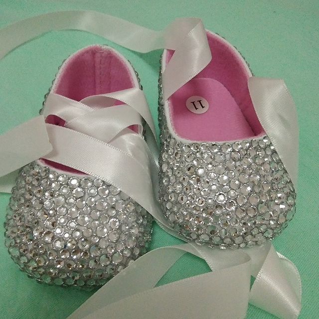 free shipping ribbon silver rhinestone Crystal Baby Girl's shoes handmade Bling Bling diamond soft First Walkers baptism shoes