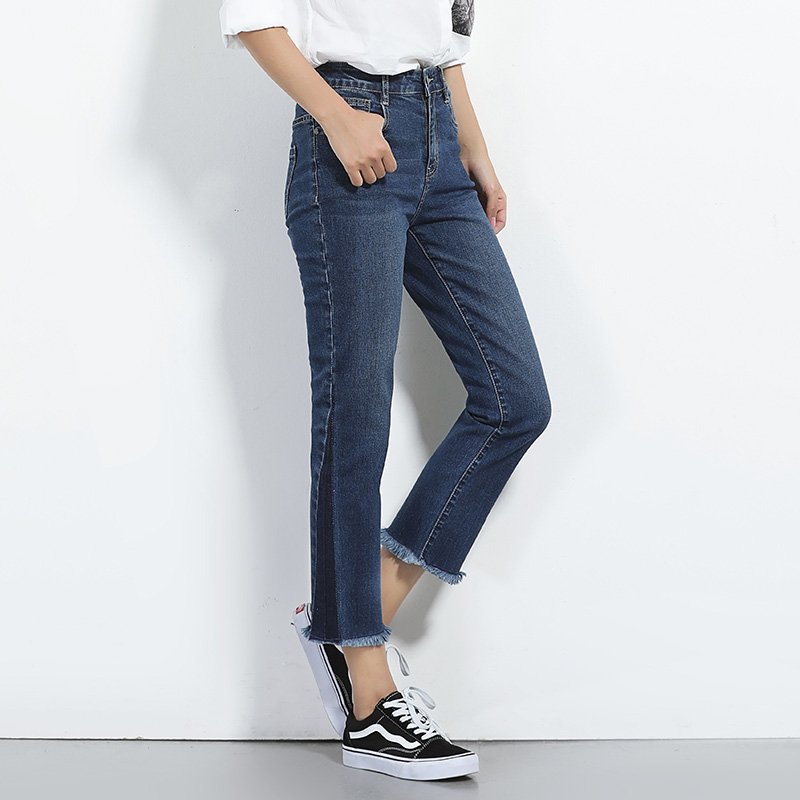 New Plus size Dark blue Geometry style denim jeans womens 2017 high waist low elastic jeans female straight pants jeans femme