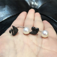 One Pair Freshwater Pearl Coin White Earring Black Swan FPPJ Wholesale Beads 7 8mm Unique Style