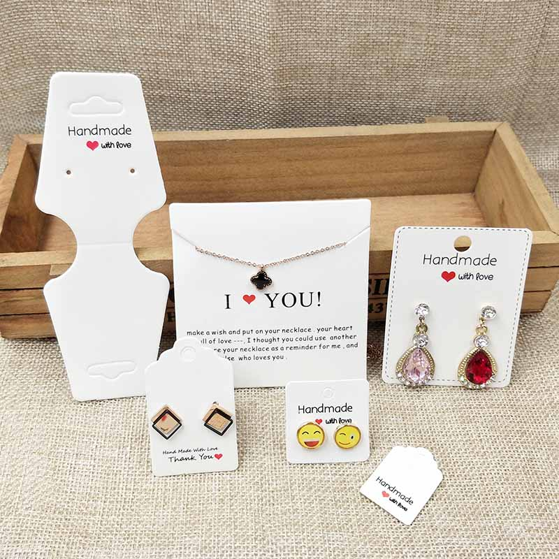 Kraft/white Paper Jewelry Packing & Display Card Cute Stud Earring Hang Tag Card 100pcs Per Lot Hair Clip Card  Necklace Card