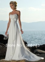 free shipping 2013 hot sale new design summer dress Prom Ball Gown michael cinco chiffon white bridemaid dress with small train