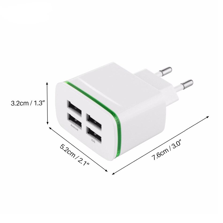 4 port USB laddare adapter 4A laddningslampa LED lampa plug multi port HUB laddare till iPhone iPad Samsung Xiaomi redmi