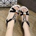 Nuevas mujeres del verano sandalias de tacón plano antideslizantes inferiores suaves sandalias planas sandalias confort de conducción ocio femenino de los estudios sandalias