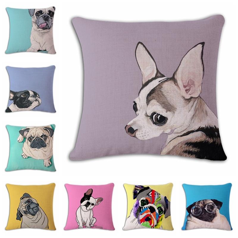 18 '' kvadrātveida kokvilnas veļas mopsis cute suņu attēls - Mājas tekstils