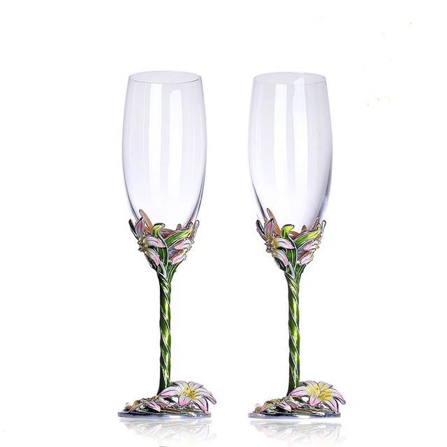 wine glasses enamel flowers champagne flutes coupe champagne glasses wedding champagne flutes. Black Bedroom Furniture Sets. Home Design Ideas