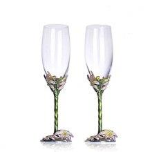 Wine glasses Enamel flowers champagne flutes Coupe champagne glasses Wedding champagne flutes Flute glass Wedding decorations