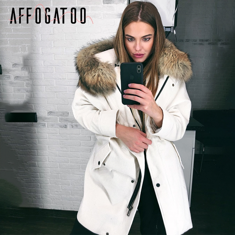 Affogatoo Faux fur hooded corduroy jacket coat women Warm thick padded   parka   winter coat 2018 Streetwear pocket overcoat female