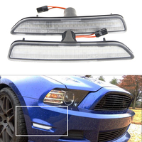 2pcs/set Clear Lens Front Side Marker Lamps with 27 SMD Amber LED Lights For Ford Mustang Front Bumper 2010 2014 Replace Halogen