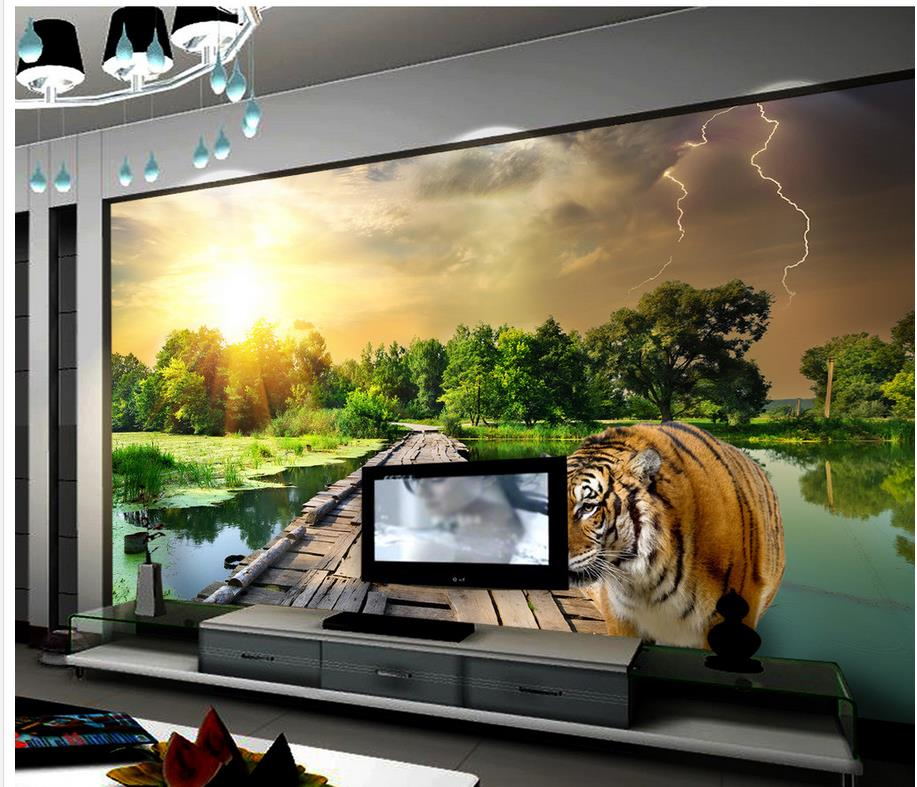 aesthetic tiger modern tv landscape painting classic backdrop wallpapers bridge decoration