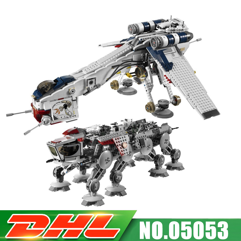 DHLLEPIN 05053 1788pcs New UCS  Republic Dropship with AT-OT Walker Model Building blocks Bricks Compatible 10195 Toy Gift w 29 at at walker style wall sticker