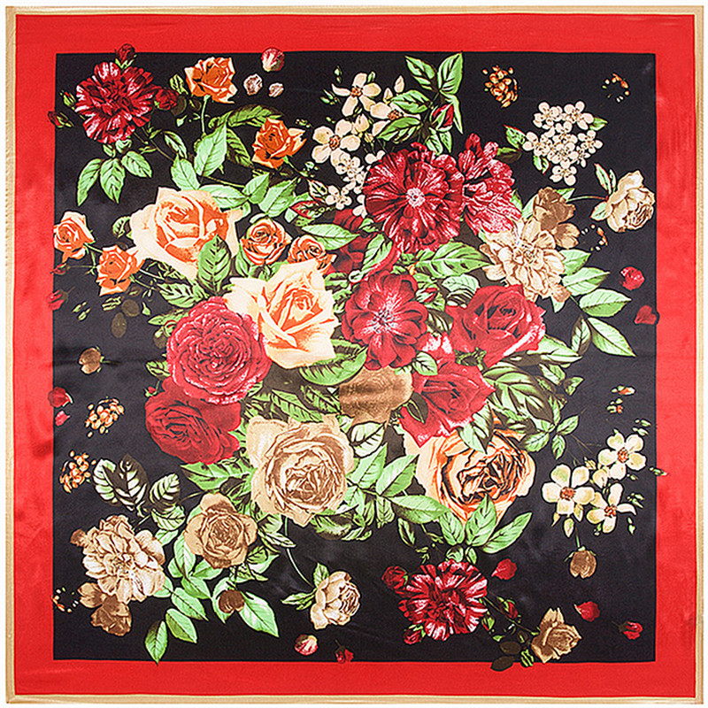 Fashion Joker Silk Women Floral Print Scarf New Flower Poncho Foulard Femme Red Bandanas Big Size Square Scarf 90*90CM Wholesale