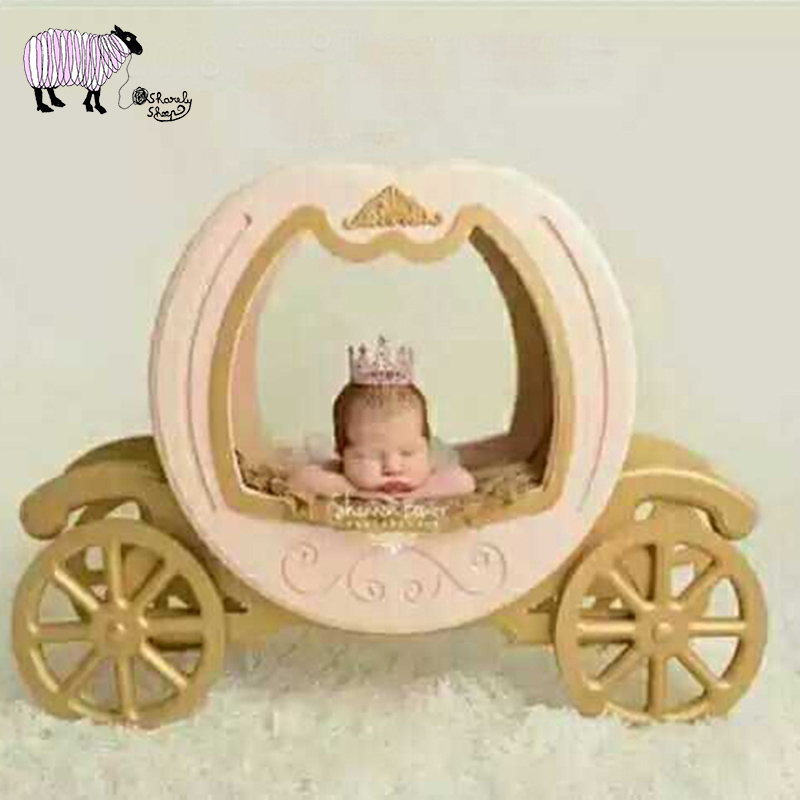 Newborn Baby Photography Wooden Pumpkin Car Basket Props Baby Girl Wooden Princess Cinderella Carriage Fotografia Posing Props