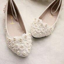 Женщины Свадебные Туфли Цветок Отделкой Из Жемчуга Свадебные Туфли Белого Ручной Работы Женщин Плоские Туфли Кружева Принцесса Жемчужина Строка Zapatos Mujer