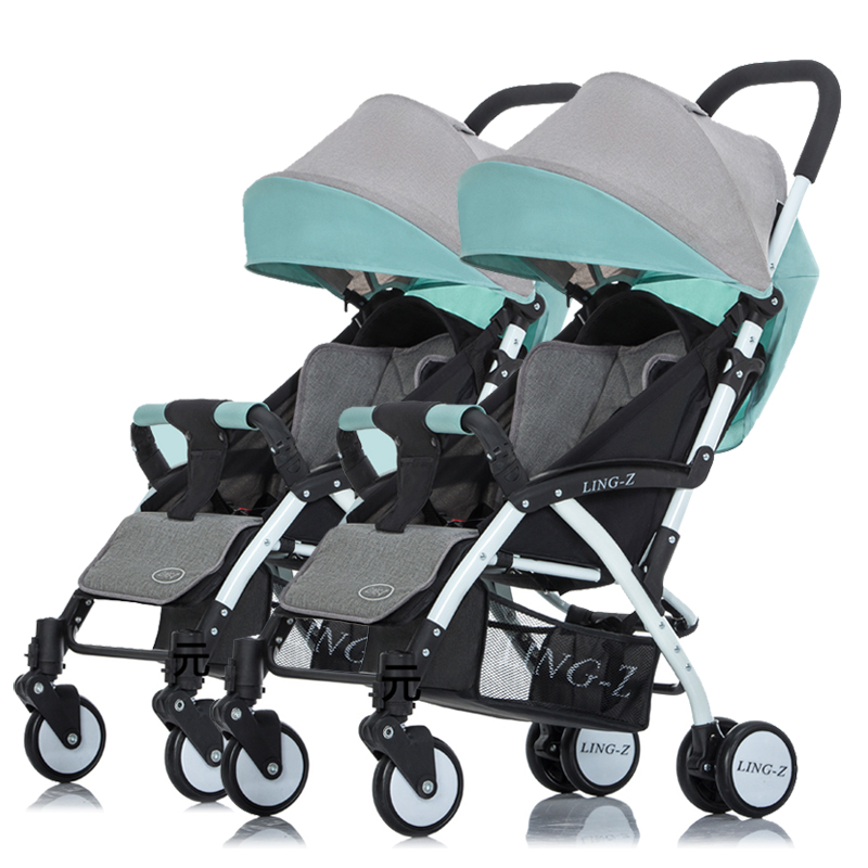Portable Twins Baby Stroller Light Weight High Landscape Folding children trolley lying multiple newborn carriage travel plane folding twins baby stroller light weight portable european baby carriage double directions travel pram