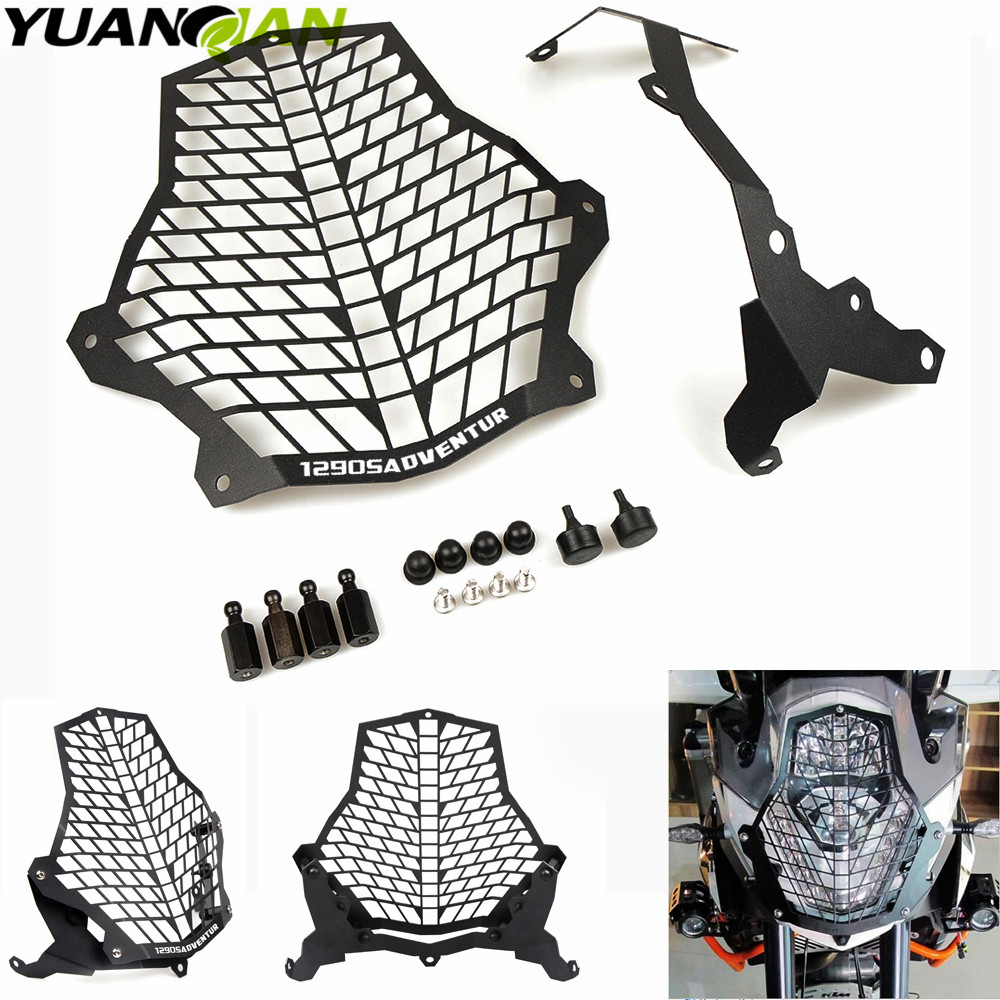 цена на For KTM 1290 SA Super Adventure Front Lamp Headlight Guard Protector Cover Stainless Steel For KTM 1290 Super Adventure LOGO