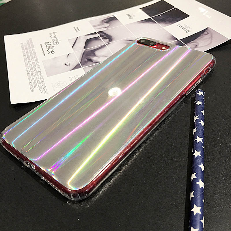 Hehan ins Web Red Laser Phantom For iphone7plus Mobile Shell For iphone6s Colorful Protective cover Gradient Soft shell