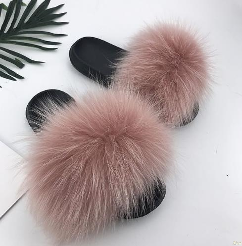 OLOMM 2018 Real Fox Hair Flip Flops Summer Beach Slides