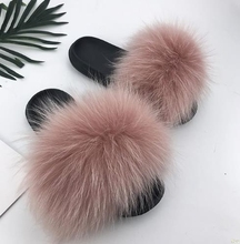 299e0dfd06bfc0 2018 New Fashion Real Fox Hair Slippers Flip Flops Summer Shoes Beach Slippers  Slides Slip On · 28 Colors Available