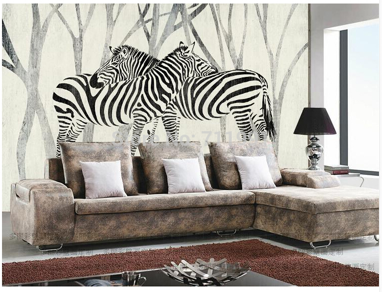US $15.0 50% OFF Free shipping custom 3D mural classic retro modern sofa  bedroom TV backdrop wallpaper zebra wallpaper-in Wallpapers from Home ...
