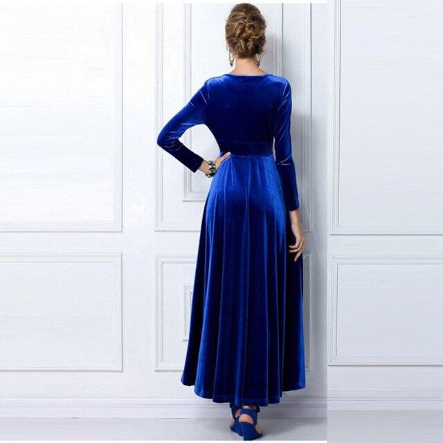 ALABIFU Autumn Winter Dress Women 2019 Casual Vintage Ball Gown Velvet Dress Plus Size 3XL Sexy Long Party Dress Vestidos 6