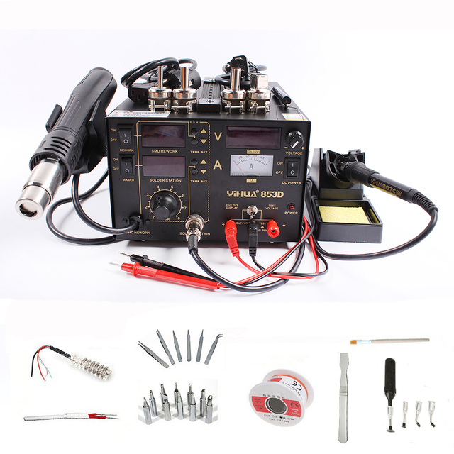 YIHUA 853D 1A Solder Rework Station 3 in 1 Hot Air Heat Gun Soldering Iron DC Power Supply Desoldering Repair With Welding Tools [category]