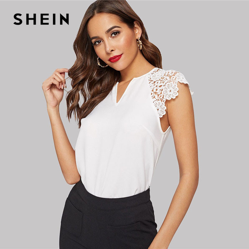 Shein Notched Neck Guipure Lace Cap Sleeve White Blouse Ol Summer V Neck Solid Raglan Sleeve Casual Womens Tops And Blouses Spare No Cost At Any Cost Blouses & Shirts