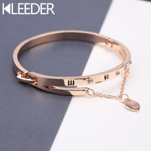 KLEEDER Love Heart Shaped Bracelet Bangles Roman Numerals Rose Gold Copper Crystal Pendant Bracelets for Women Fashion Jewelry