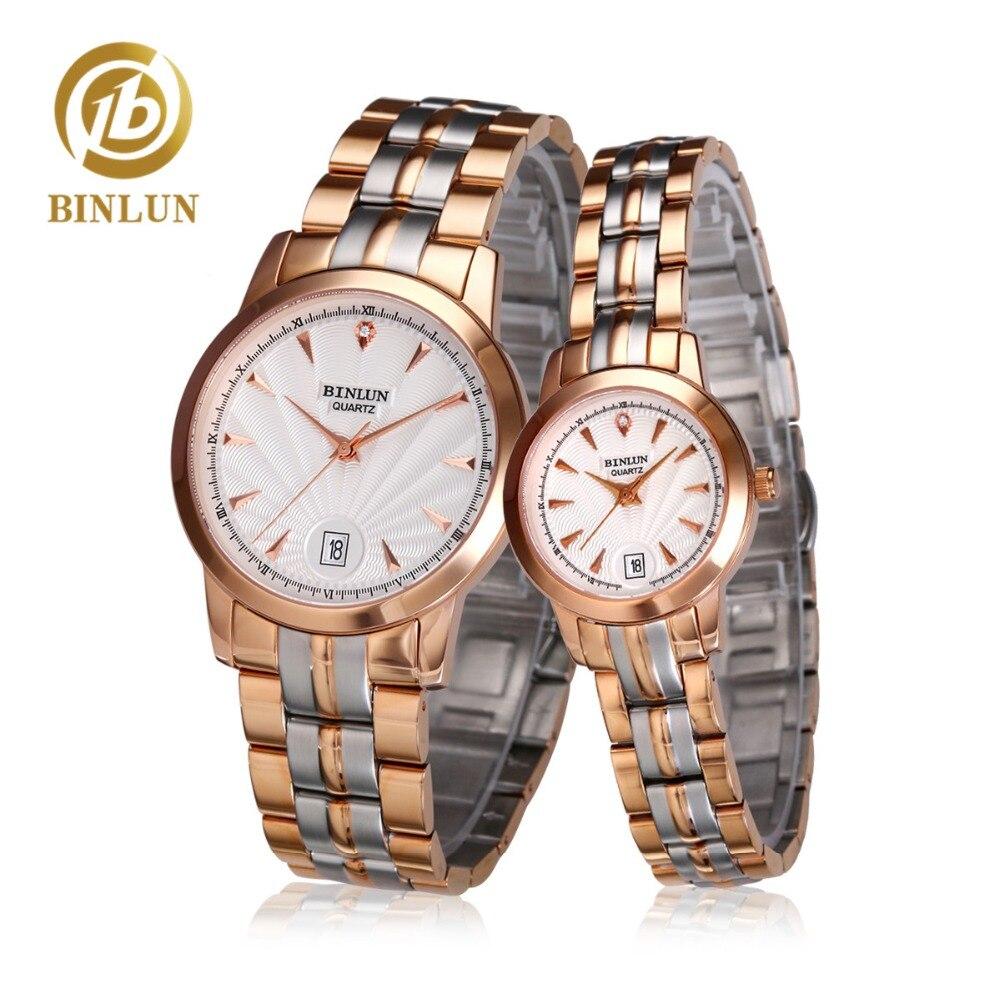 59a69012057 BINLUN Moda Casal Assistir Homens de Negócios Relógio de Quartzo Unisex  Relógios de Cristal de Safira