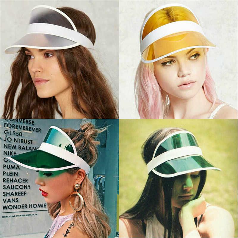 夏 PVC 透明帽子太陽バイザーパーティーカジュアル帽子透明なプラスチック大人の日焼けキャップバイザー女性男性屋外帽子女性キャップ