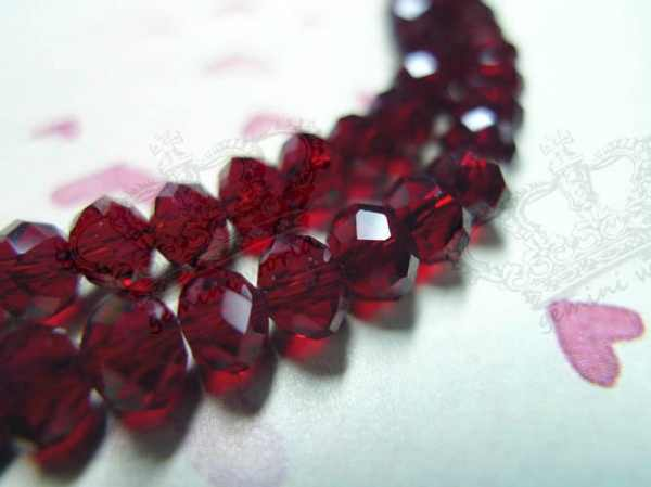 100x 6mm Dark Garnet Red Faceted Rondelle Crystal Glass Loose Beads