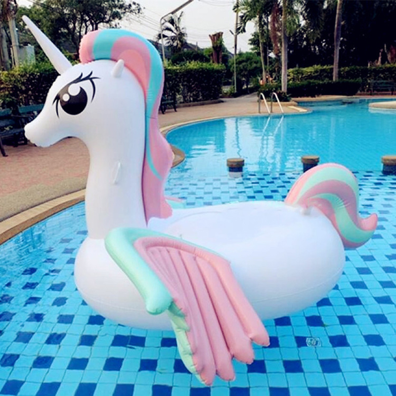 Hot sale pool float inflatable boat unicorn swimming float for Best rated inflatable swimming pool