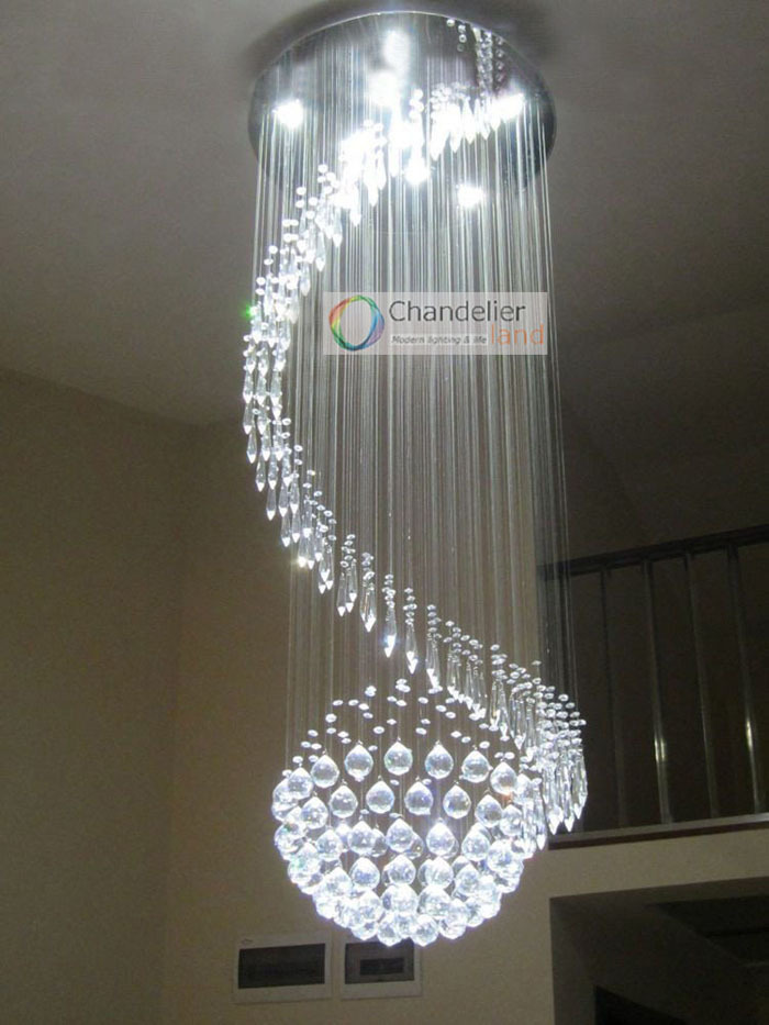 Various Sizes Fit 110 240v Modern Sphere New Clear Crystal Spiral Ceiling Pendant Lamp Rain Drop