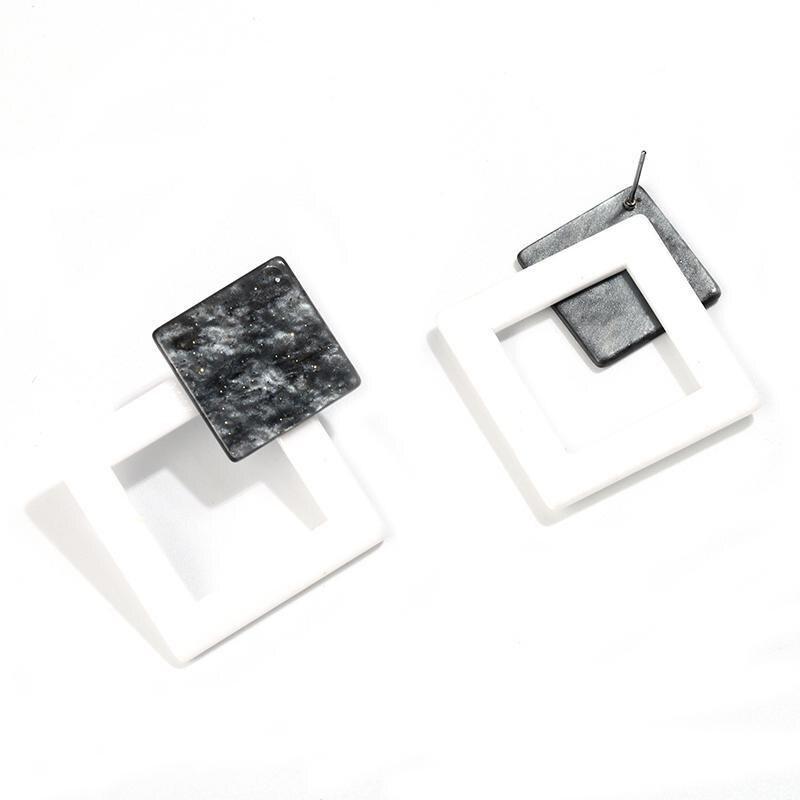 Корейские Модные Акриловые Серьги Геометрические Квадратные висячие серьги из смолы для женщин модные ювелирные изделия Oorbellen - Metal Color: White