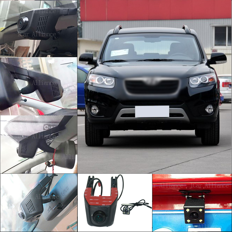 BigBigRoad For Hyundai santa fe Car Parking Camera APP control Car Wifi DVR 1080P WDR Dual Camera Car Black Box camcorder bigbigroad for toyota sequoia car parking camera app control car wifi dvr video recorder dual lens car black box camcorder
