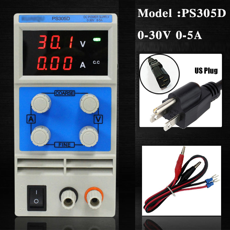 US Plug 30V 10A DC Power Supply Adjustable Digital Laboratory Power Supply Dual Digital Lab Kits Test High Precision NEW
