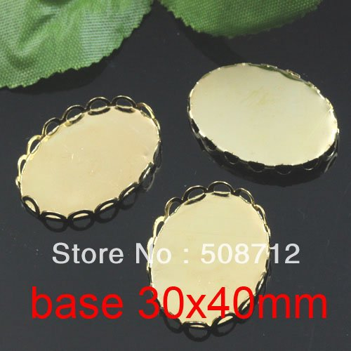 Free shipping!!! 200pcs oval silk gold plated Frame charms Pendants 30x40mm,Cameo Cab settings