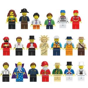 Image 3 - 20 Stks/partij Enlighten Minifiguurtje Bouwstenen Cijfers Bricks Diy Speelgoed Politie Soldaat Beroepen Mini Mensen Voor Kids Gift