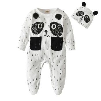 New 2020 Toddler Baby Boy Clothing 2Pcs Outfits Set Cartoon Style Cotton Long Sleeve Jumpsuit with Hat Newborn Baby Clothes