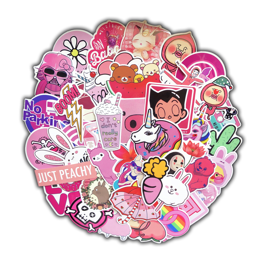 50 Pcs/pack PVC Waterproof Pink Girls Fun Sticker Toys The Luggage Stickers For Moto Car & Suitcase Cool Fashion Laptop Stickers