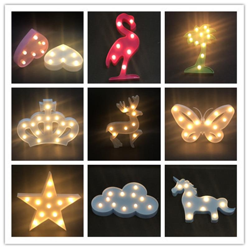 New Novelty 3D Marquee Unicorn Flamingo Table LED Lamp Love Children 39 s Night Light Star Moon Cloud Heart Deer Decor Letter ccc in LED Night Lights from Lights amp Lighting