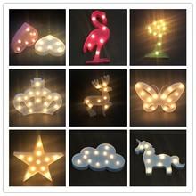 New Novelty 3D Marquee Unicorn Flamingo Table LED Lamp Love Childrens Night Light Star Moon Cloud Heart Deer Decor Letter ccc