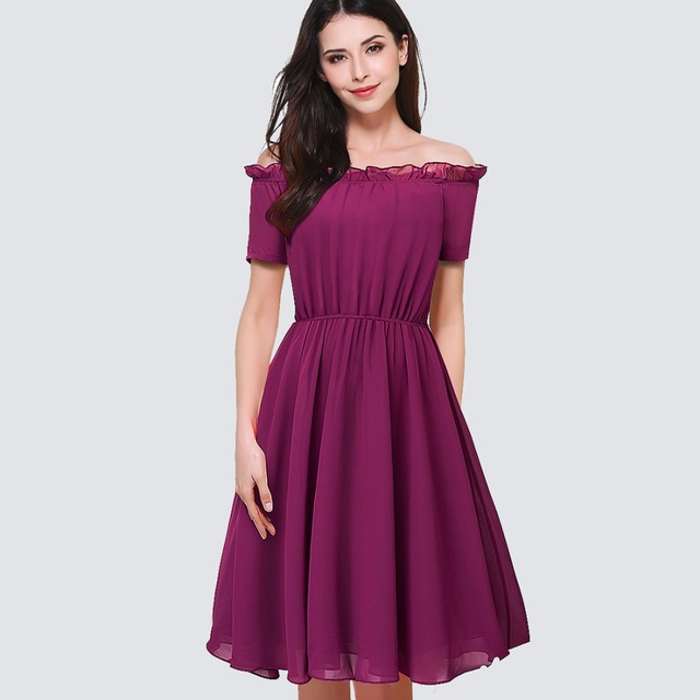 50b4458ef8 Women Elegant Chiffon Party Dress Vintage Ruffles Sexy Off The Shoulder Flowing  Summer Dress HA035