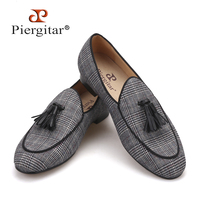 Piergitar 2019 gray color gingham cotton men's loafers with tassel Fashion Men Casual Shoes party and banquet smoking slippers