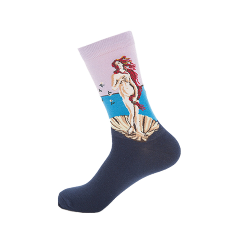 Men casual combed cotton happy socks mens oil paintings series venus funny socks colourful breathable high-quality long sock