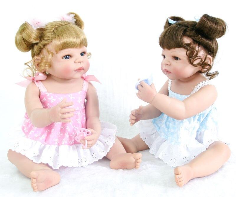 55 cm New Full Body Silicone Reborn Bébé Poupée Jouets Pour Filles Bonecas 22 pouces Nouveau-Né Princesse Bebe Vivant Bébés d'anniversaire Cadeau De Bain