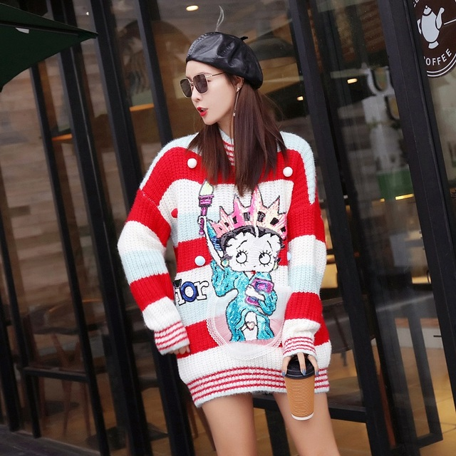 f8ec1afaead 2019 Fashion Cute US Girls Cool Cartoon Sweater Clothes Stylish Winter Sweet  Sequins Loose Pullover Sweater