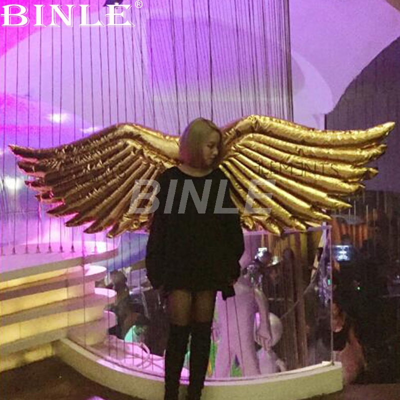 High quality girls dance parade inflatable angle wing costume with golden shiny material for stage,party,event decoration