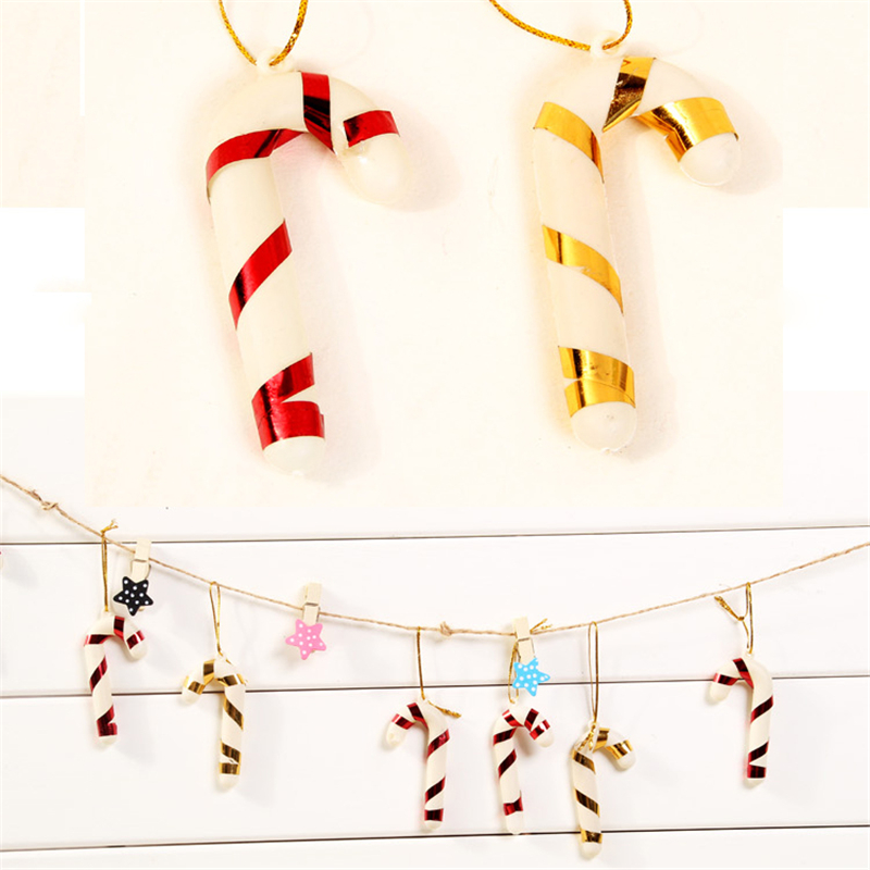 6pcs Bag Plastic Candy Cane Ornaments Christmas Tree Hanging Decorations For Festival Party Xmas